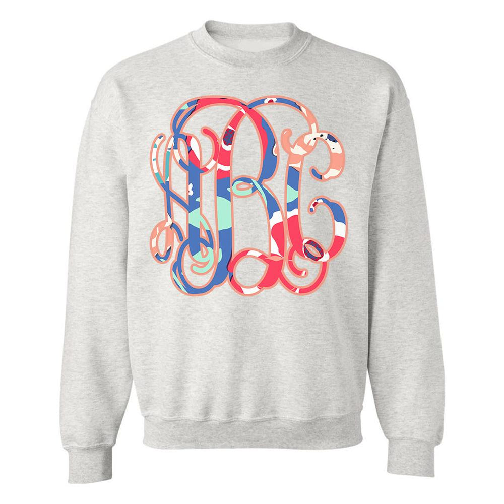 Kate Spade Inspired Monogrammed Crewneck Sweatshirt Flowers