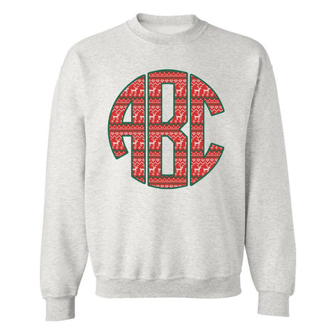 Monogrammed 'Ugly Christmas Sweater' Big Print Sweatshirt