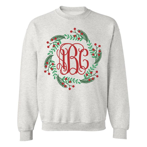 Monogrammed 'Holly Wreath' Crewneck Sweatshirt