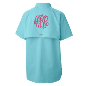 Monogrammed Columbia PFG Short Sleeve Fishing Shirt Lake Boat Beach