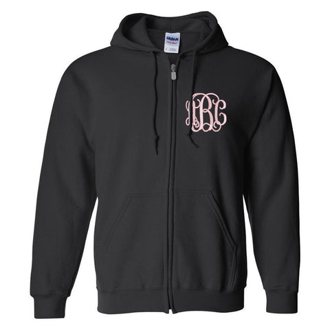 Monogrammed Full Zip Unisex Hooded Sweatshirt