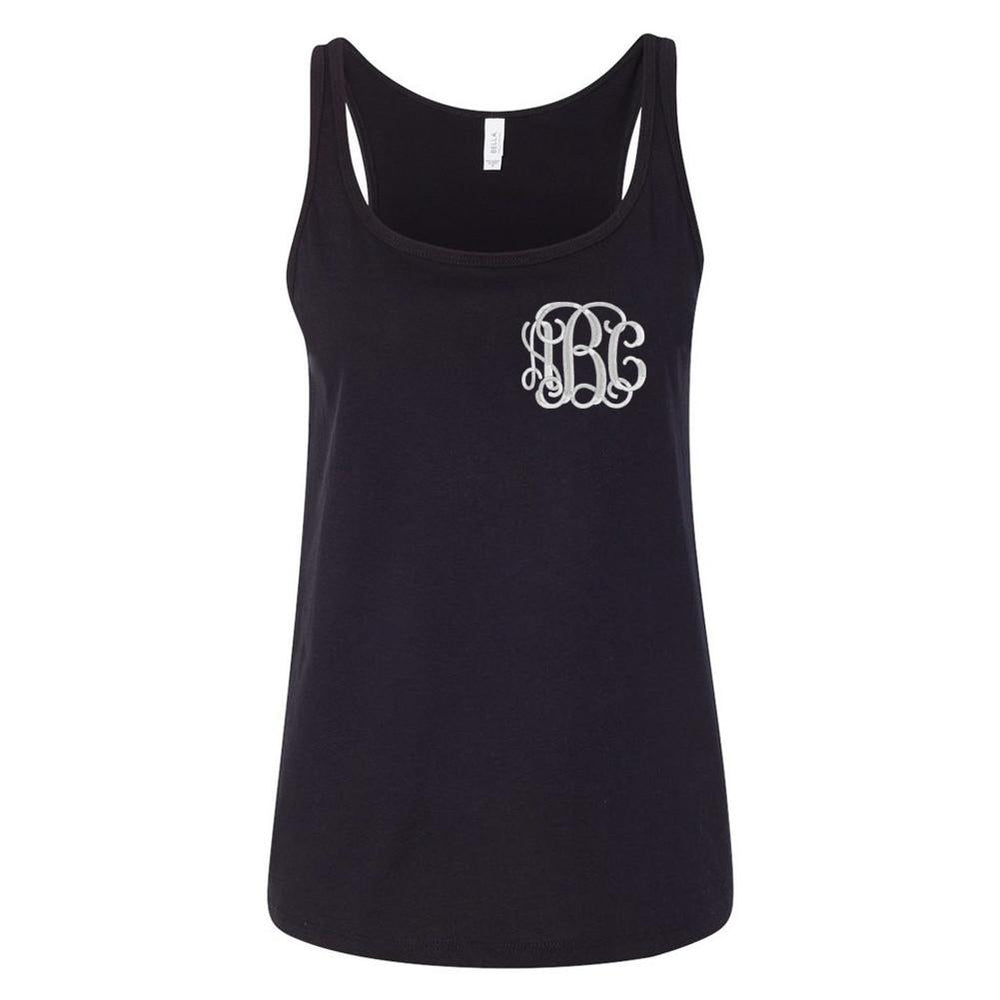 Monogrammed Relaxed Tank Top- Black And Stylish with Initials