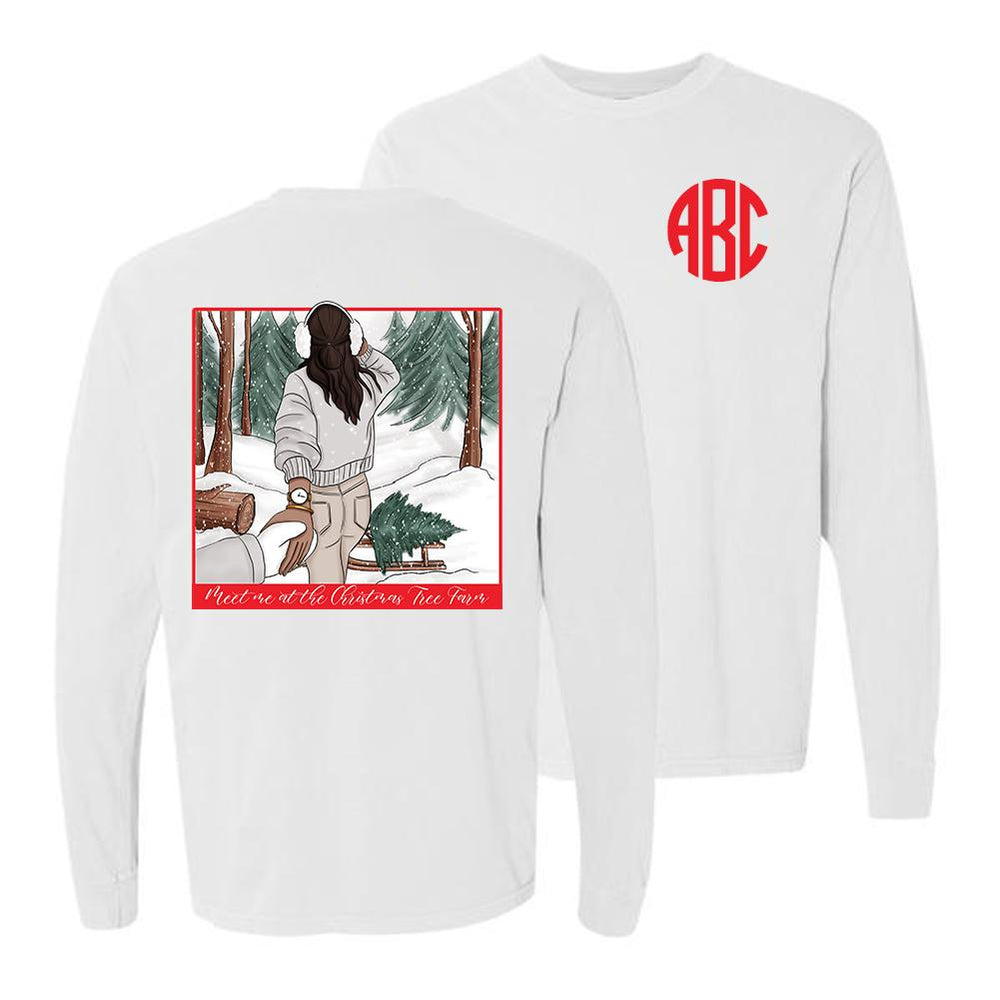 Monogrammed Meet Me At The Christmas Tree Farm Front & Back Long Sleeve Shirt