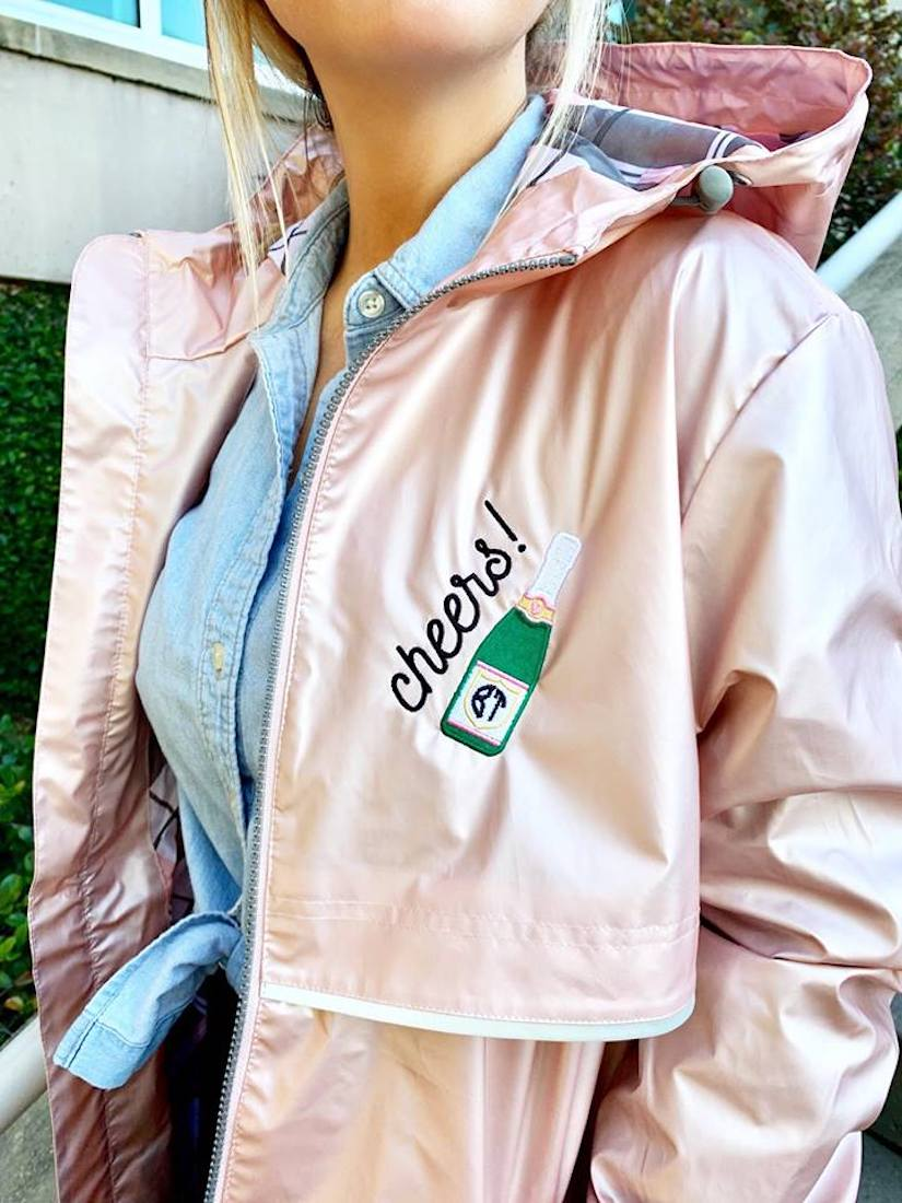 Embroidered Champagne Rain Jacket with Monogram