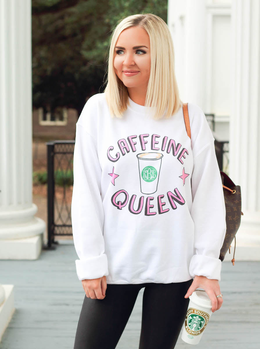 Southern Sassy Blonde & United Monograms- Caffeine Queen Sweatshirt
