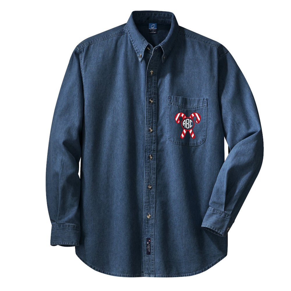 Monogrammed 'Candy Cane' Oversized Denim Shirt