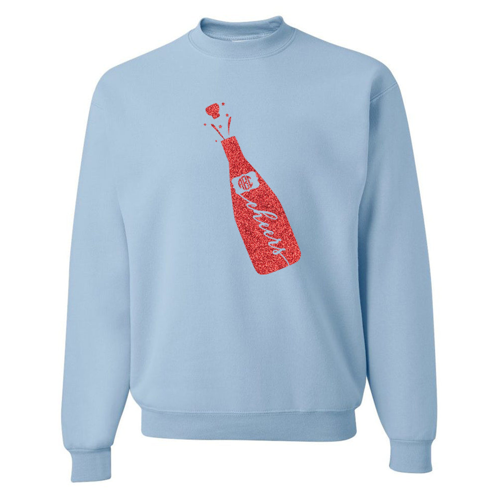 Light Blue Sweatshirt Glitter Monogram for Celebrations