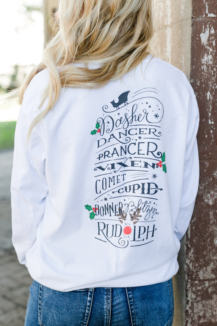 Monogrammed 'Reindeer Names' Front & Back Long Sleeve T-Shirt