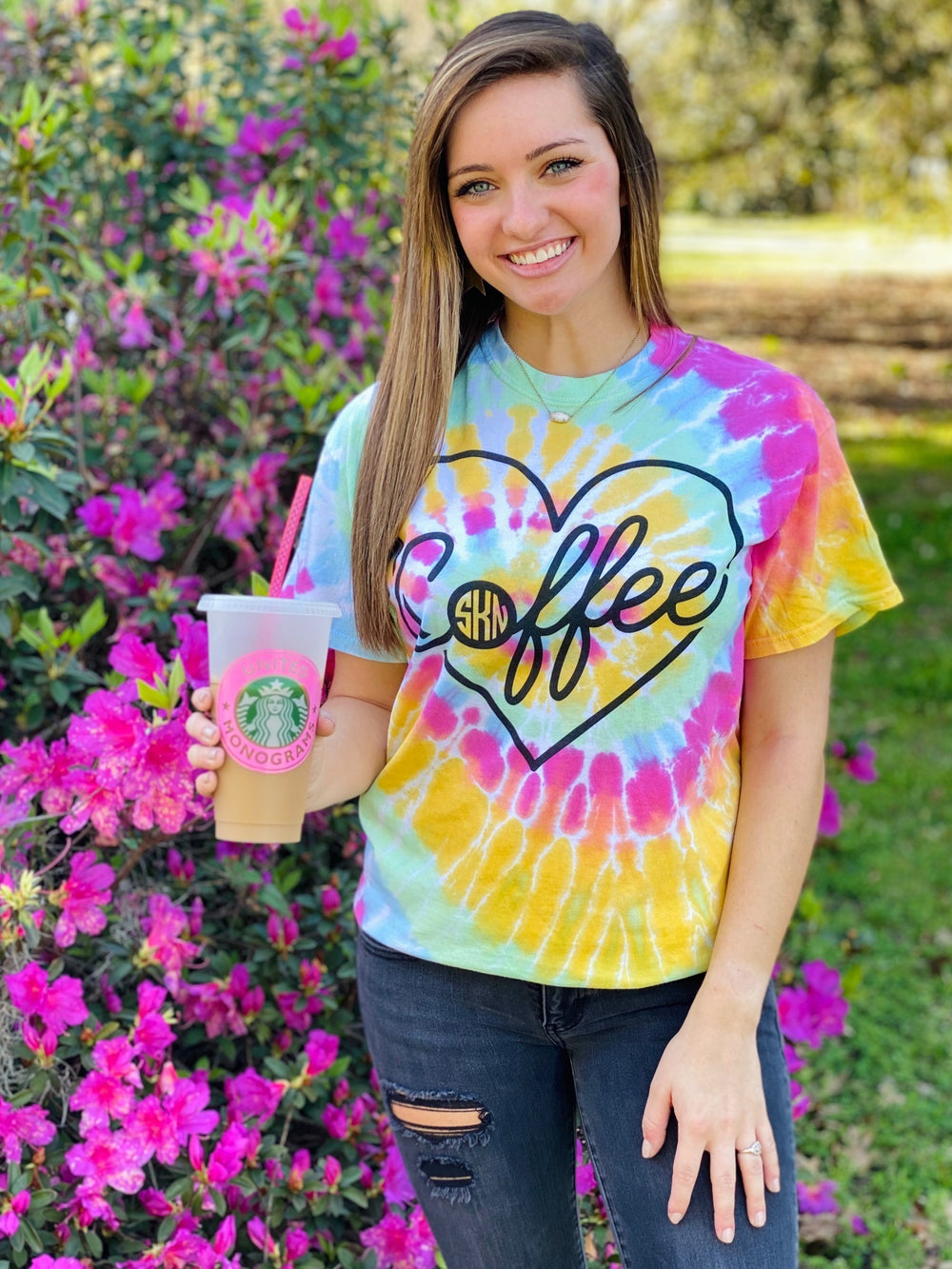 United Monograms Coffee Monogram t-shirt with tye dye