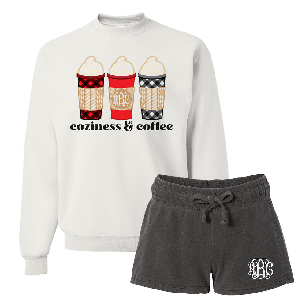 Coziness & Coffee Monogrammed Sweatshirt and Shorts Package