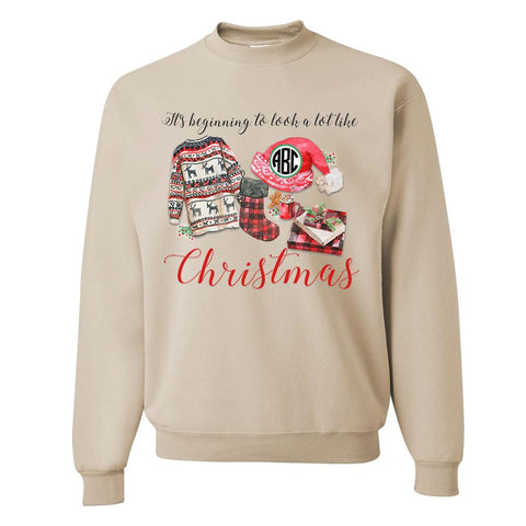 Monogrammed 'A Lot Like Christmas' Crewneck Sweatshirt