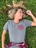 Model IN Grass with United Monograms Tee