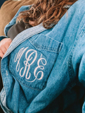 Denim Top with Embroidered Monogram on Pocket