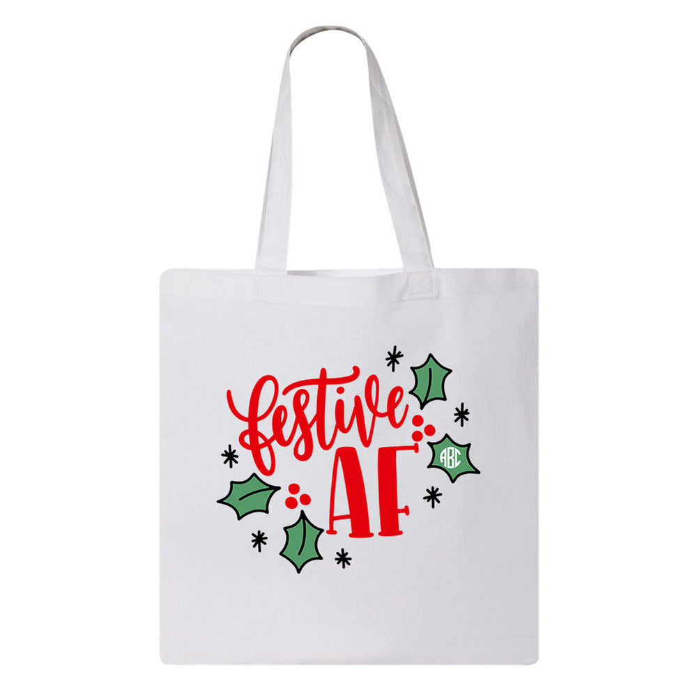 Festive AF Holiday Tote Bag with Monogram Personalized