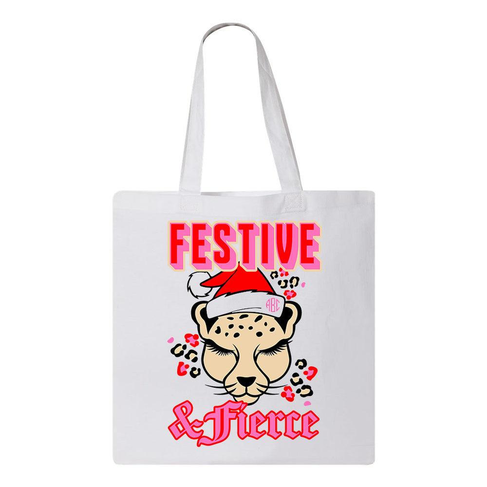 Leopard Tote Bag Santa Hat. Monogram
