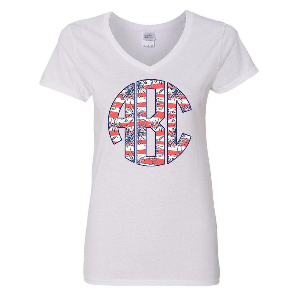 Monogrammed Lilly Pulitzer Fireworks V-Neck T-Shirt Fourth of July