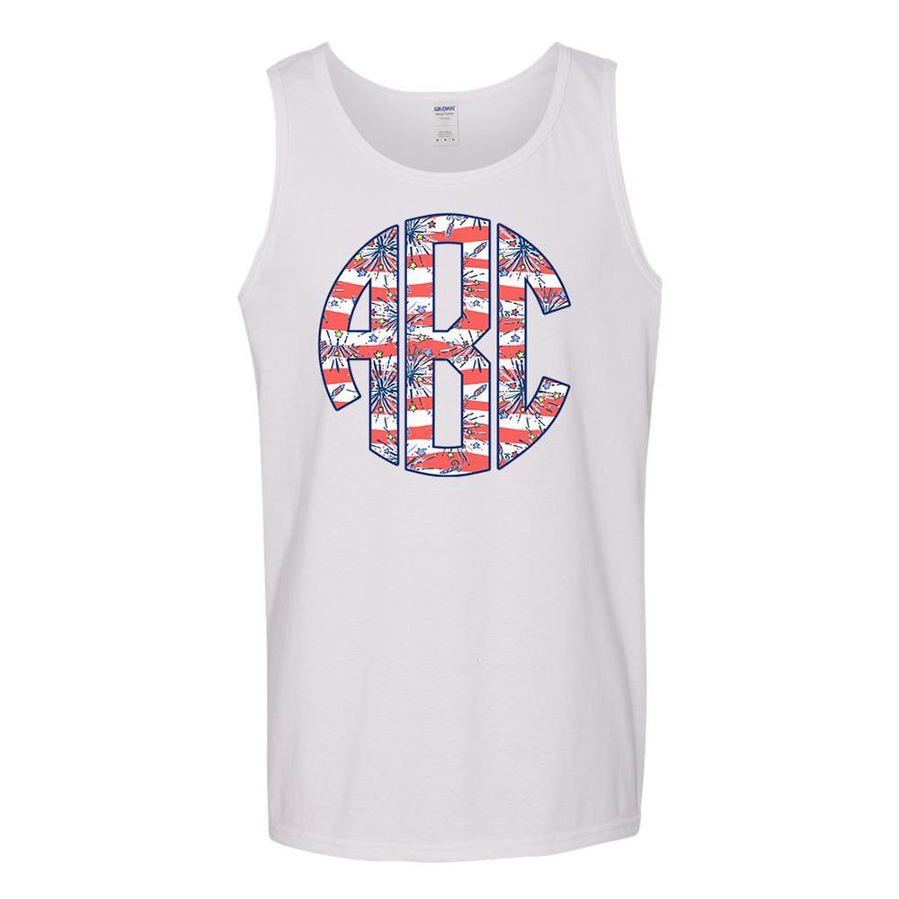 Monogrammed Lilly Pulitzer Fireworks Tank Top Fourth of July