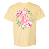 Monogrammed Comfort Colors Floral Wreath Tee