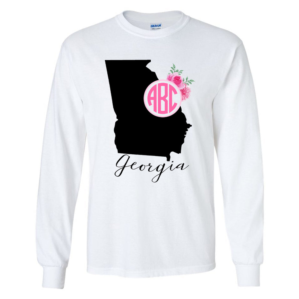 Monogrammed Georgia State Pride Long Sleeve Shirt