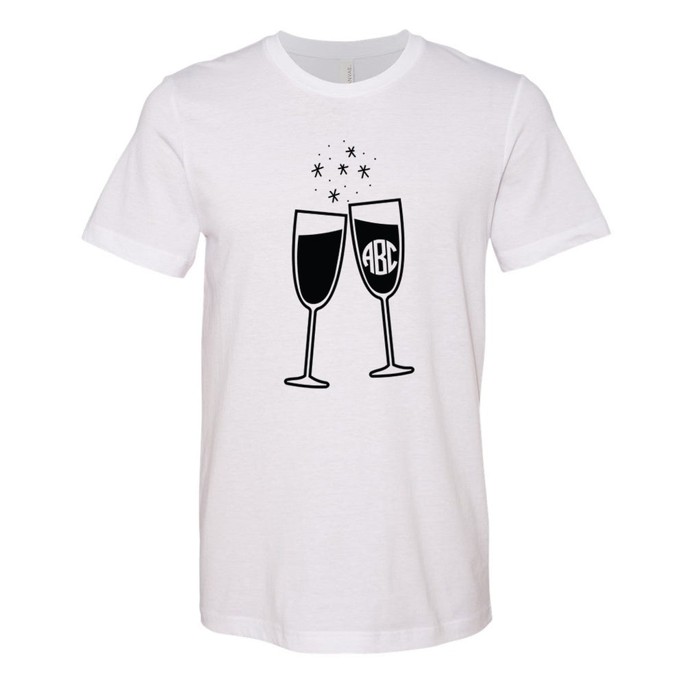 Champagne Glasses Bella T-Shirt with Personalization