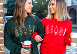 Forest Green and Red Christmas Glitter Sweatshirts