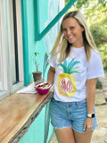 Graphic Monograms- Water Color Pineapple Art- personalized initials on graphic tee
