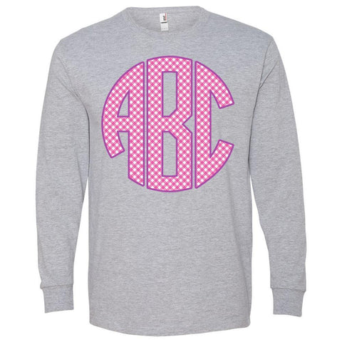 Monogrammed Gingham Grey Pink Long Sleeve T-Shirt