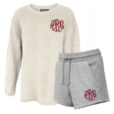 Monogrammed Corded Crew and Grey Sweat Shorts Lounge Set Package