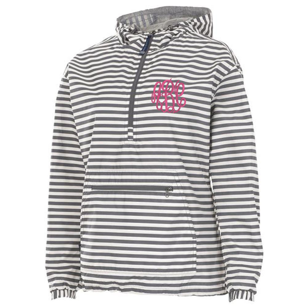 Grey and White Striped Rain Jacket