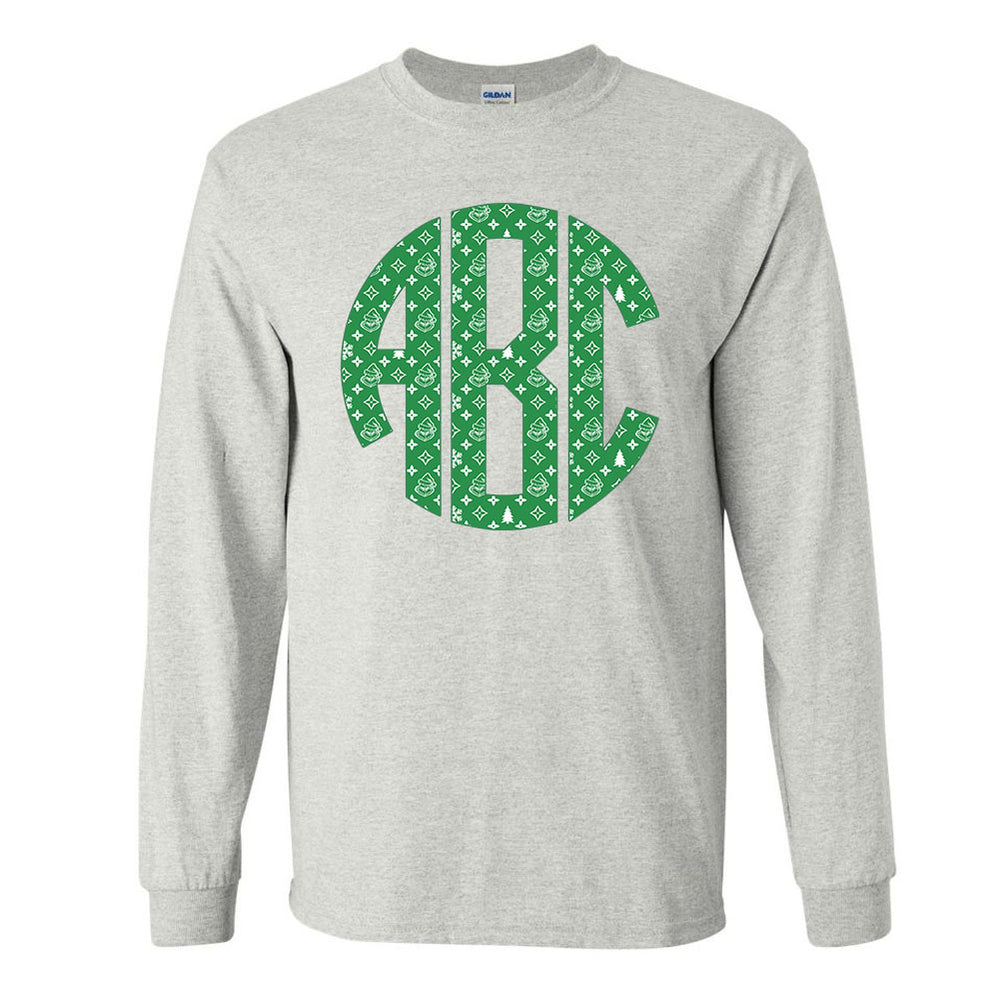 Monogrammed 'Grinch Pattern' Big Print Long Sleeve T-Shirt