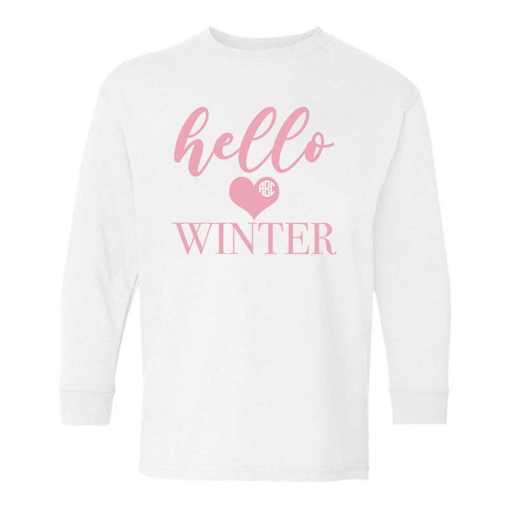 Kids Monogrammed 'Hello Winter' Long Sleeve T-Shirt