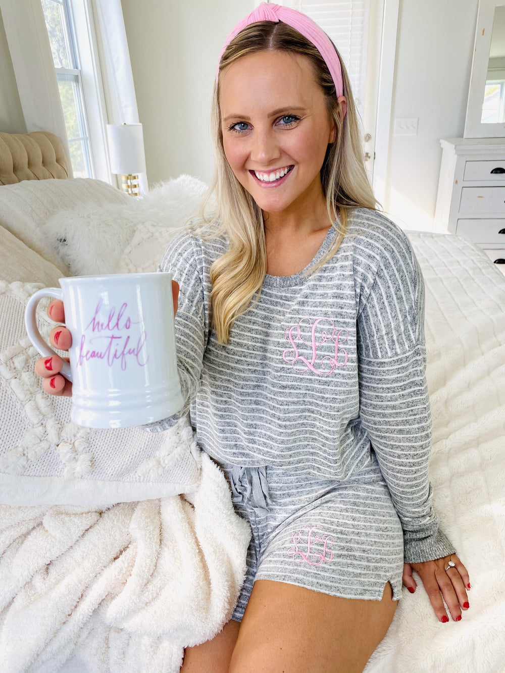 Monogrammed Soft Fleece Striped Lounge Set Pajamas