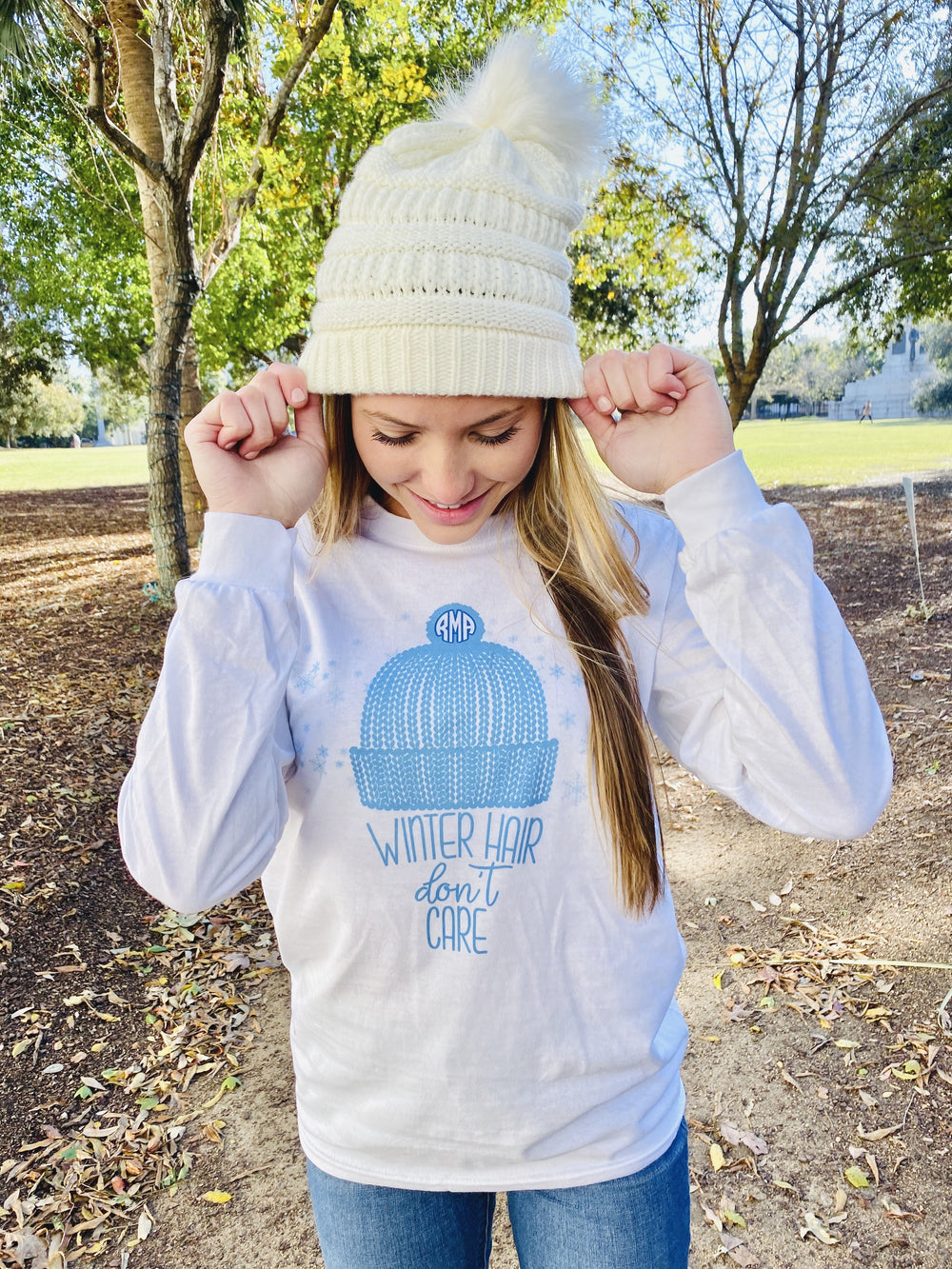 Monogrammed Snow Winter Hair, Don't Care Long Sleeve Shirt
