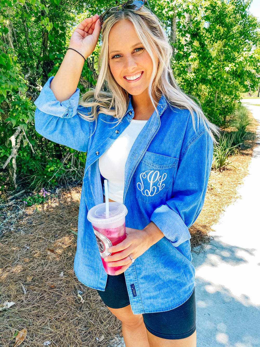 Monogrammed Oversized Denim Button Up Shirt