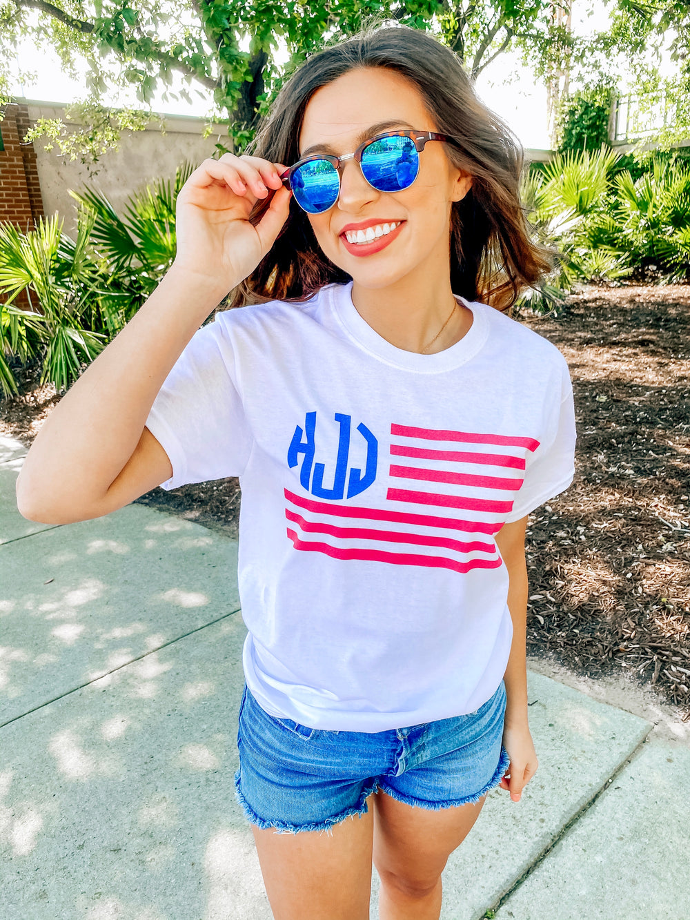 Monogrammed American Flag T-shirt Fourth of July