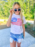 Monogrammed Watercolor American Flag T-Shirt Fourth of July