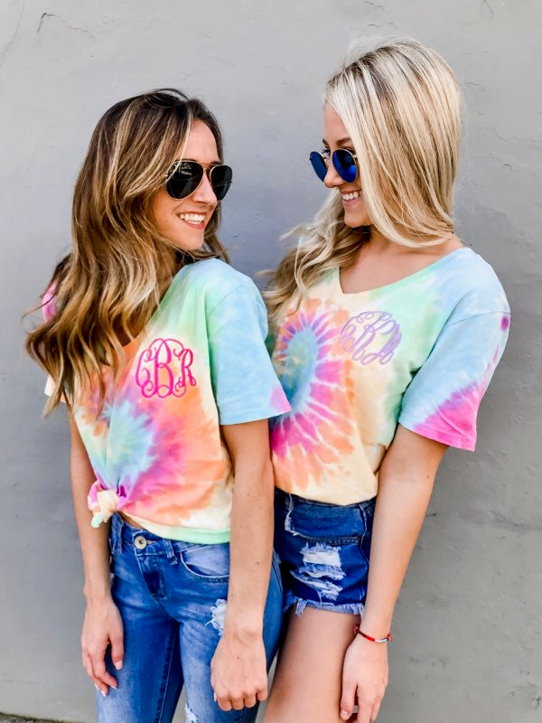 Tye Dye Monogram shirt- Cute United Monograms Models