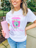 Monogrammed Favorite Things Starbucks & Lilly Pulitzer T-Shirt