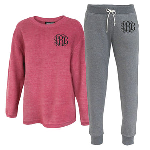 Monogrammed Corded Crew and Joggers Lounge Set Package