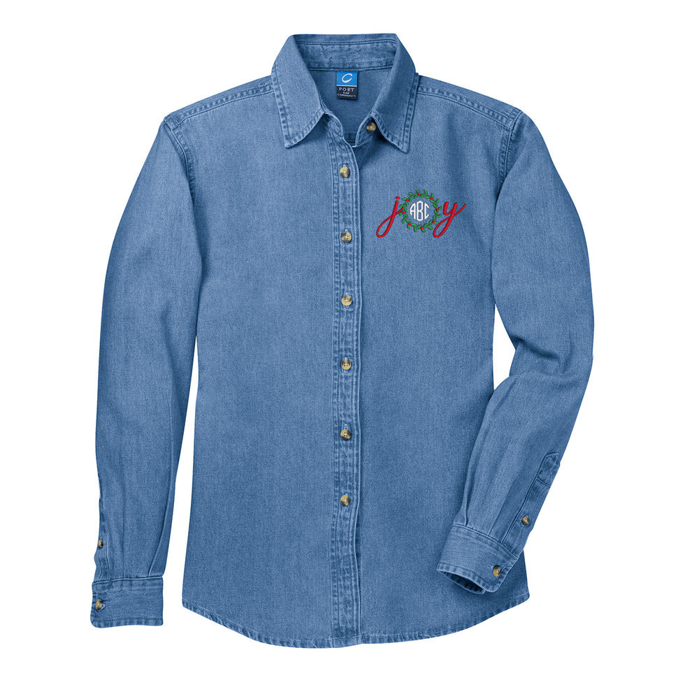 Monogrammed 'Joy' Denim Shirt