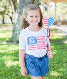 Kids Monogrammed 'Watercolor American Flag' T-Shirt