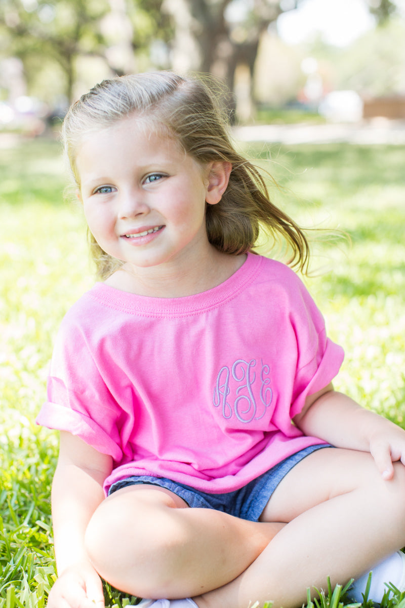Cute Kid Wearing Her Monogrammed T-Shirt!