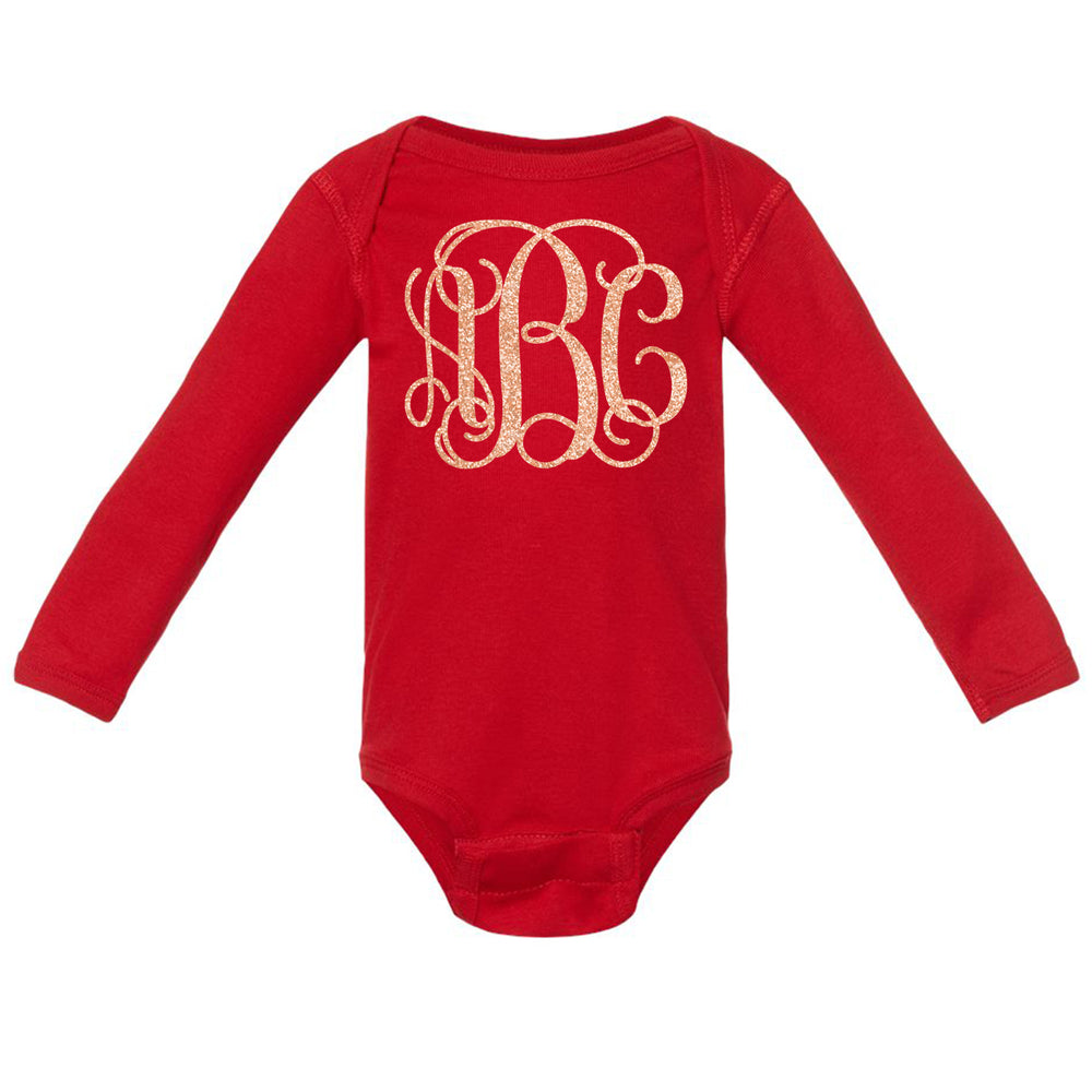 Monogrammed Infant Glitter Onesie Long Sleeve