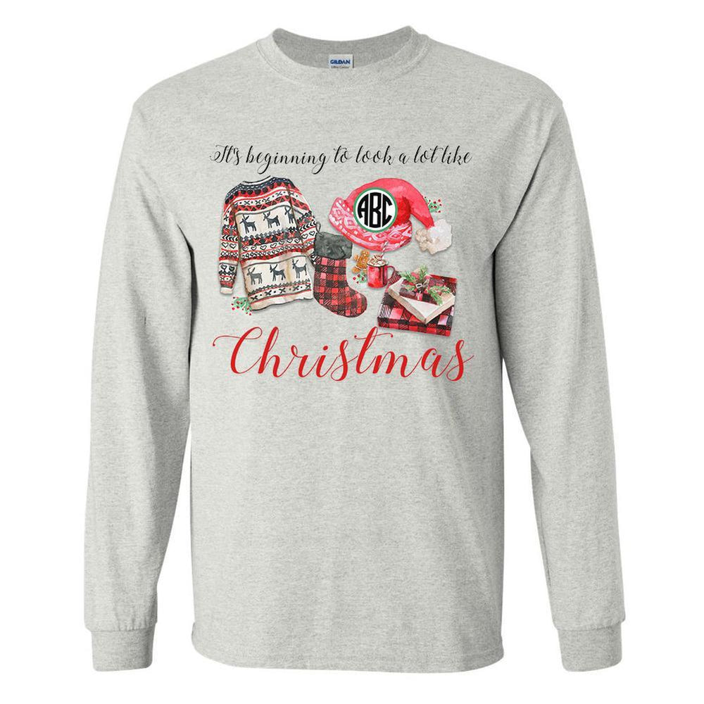 United Monograms Ash Grey Long SLeeve- Holiday Graphic Monogram