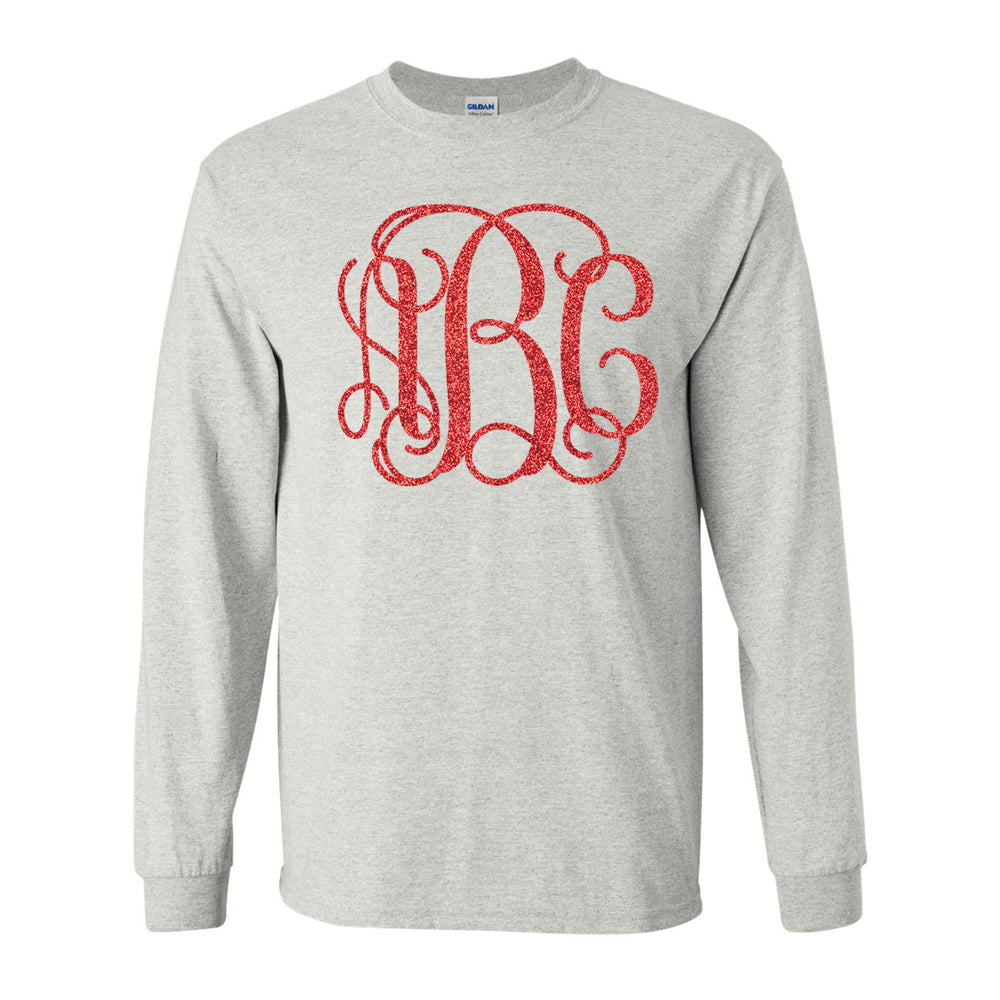 Monogrammed Glitter Big Print Long Sleeve T-Shirt