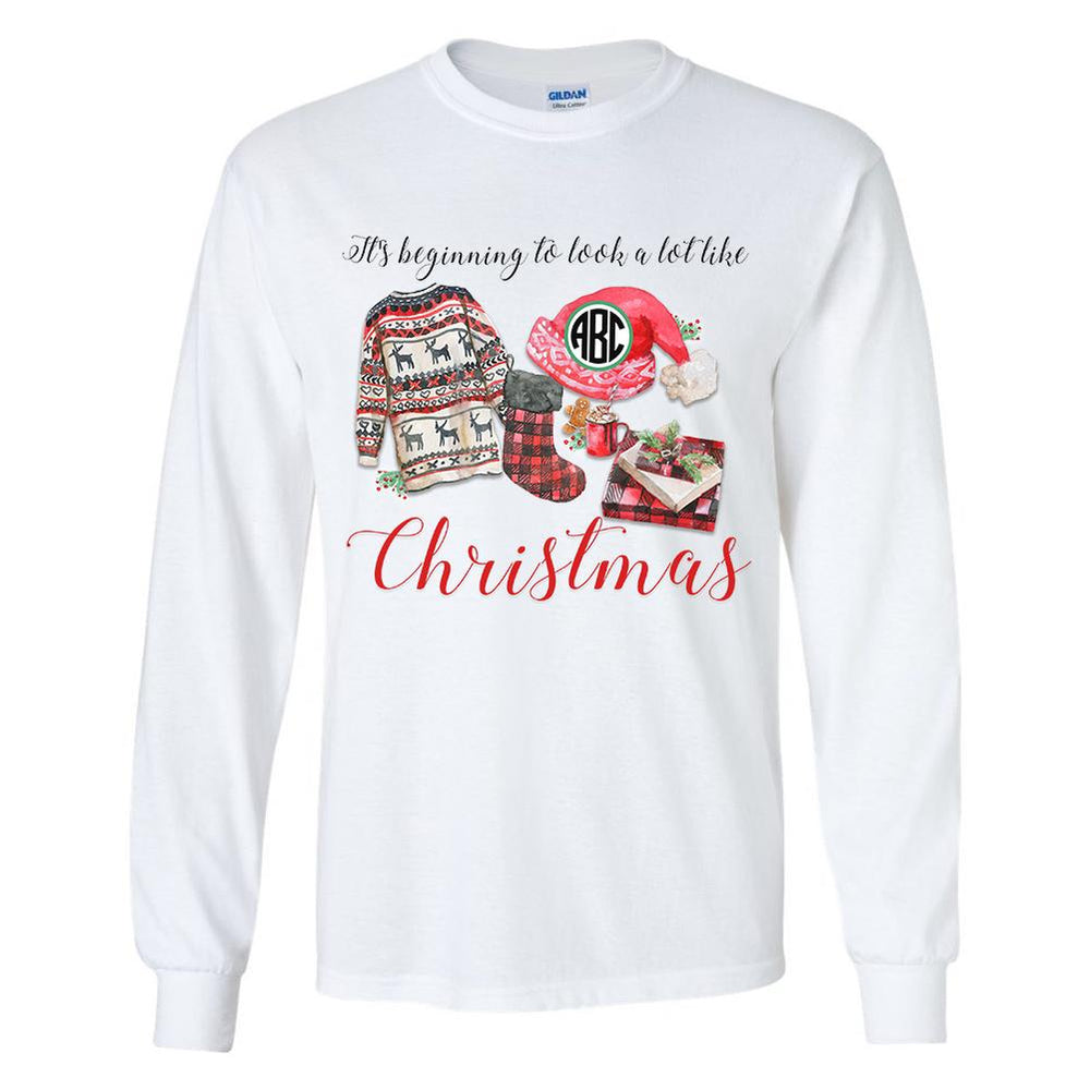 Monogrammed It's Beginning to Look a Lot Like Christmas Long Sleeve Shirt