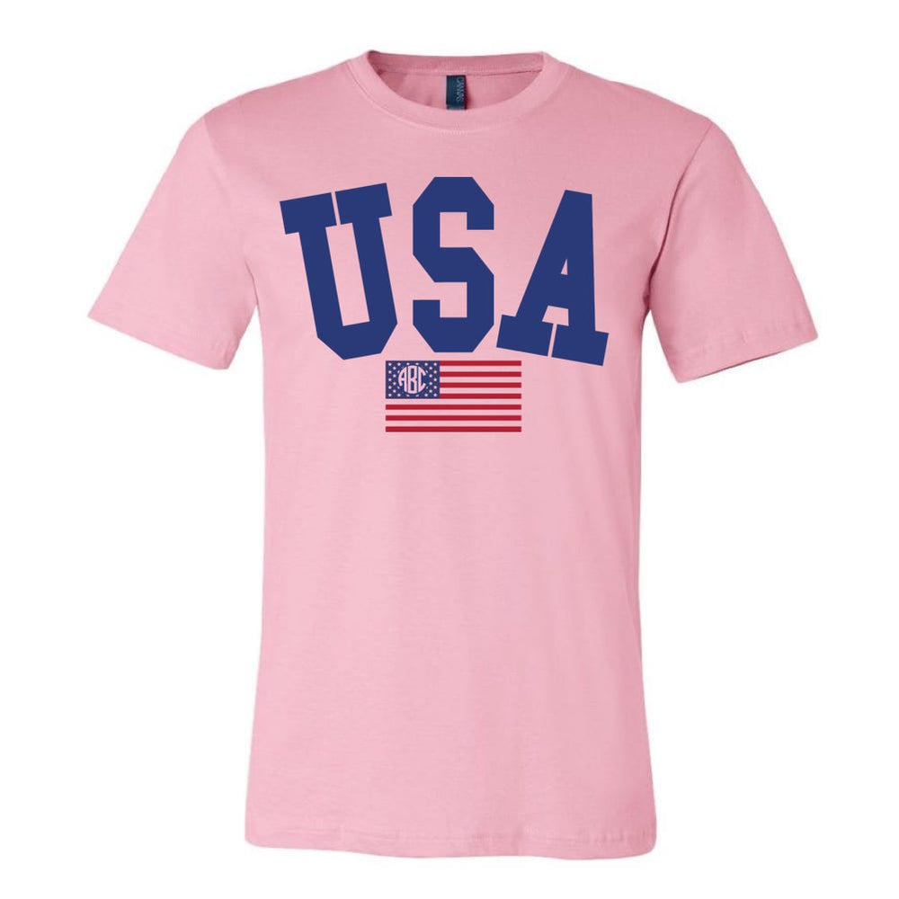 Monogrammed USA Classic Tee Fourth of July PInk