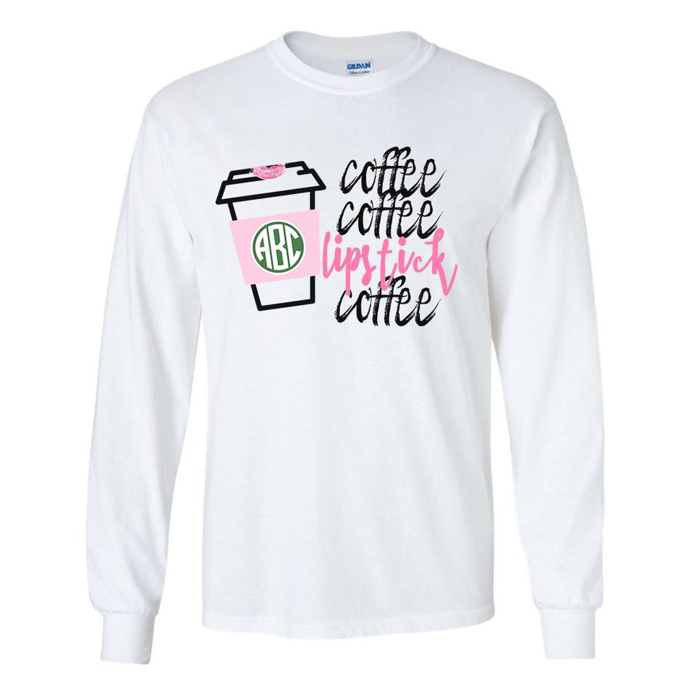 Monogrammed Coffee & Lipstick Starbucks Long Sleeve Shirt