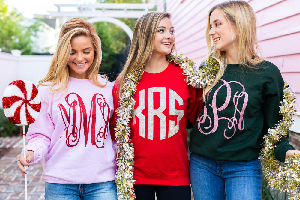 Glitter Big Print Monogram Long Sleeve