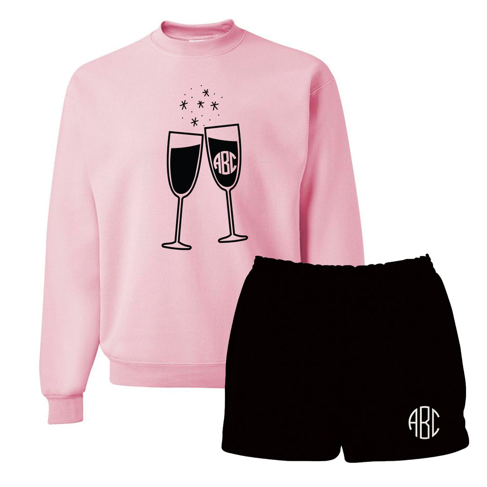Monogrammed 'Champagne Glasses' Lounge Set Package
